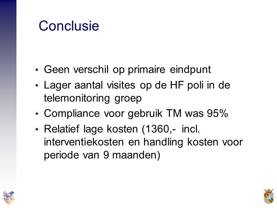 Conclusie Geen verschil op primaire eindpunt. Lager aantal visites op de HF poli in de telemonitoring groep.