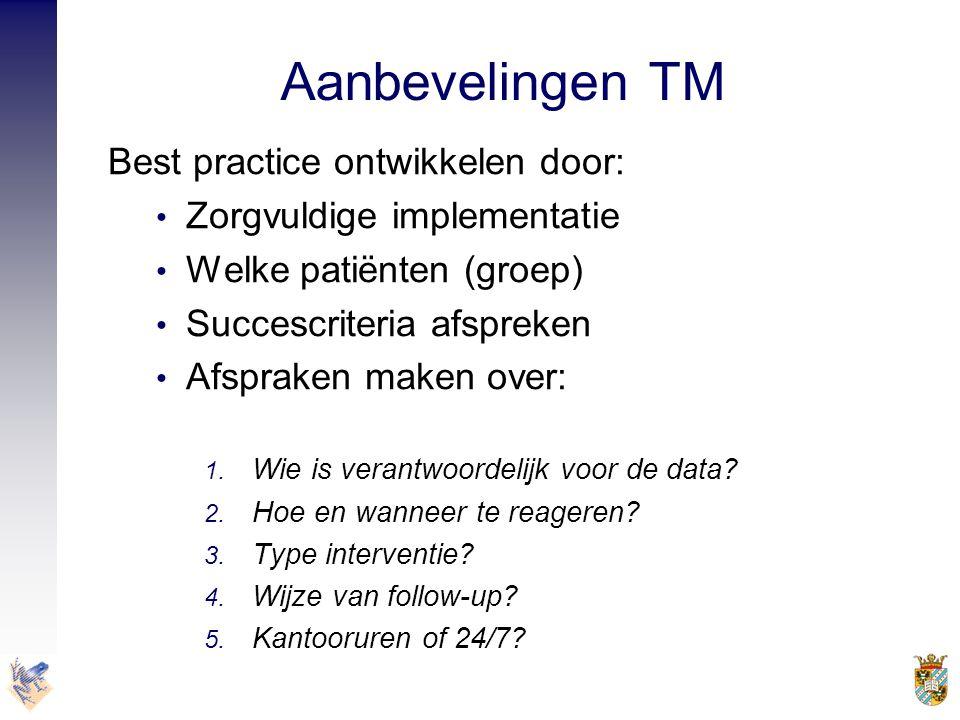 Aanbevelingen TM Best practice ontwikkelen door: