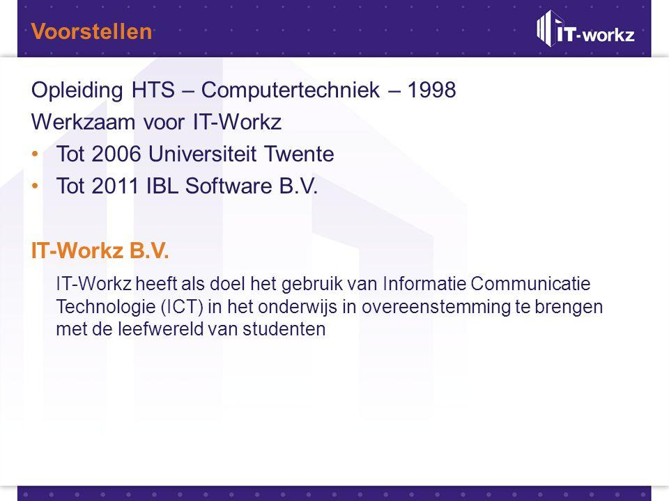 Voorstellen Opleiding HTS – Computertechniek – 1998. Werkzaam voor IT-Workz. Tot 2006 Universiteit Twente.
