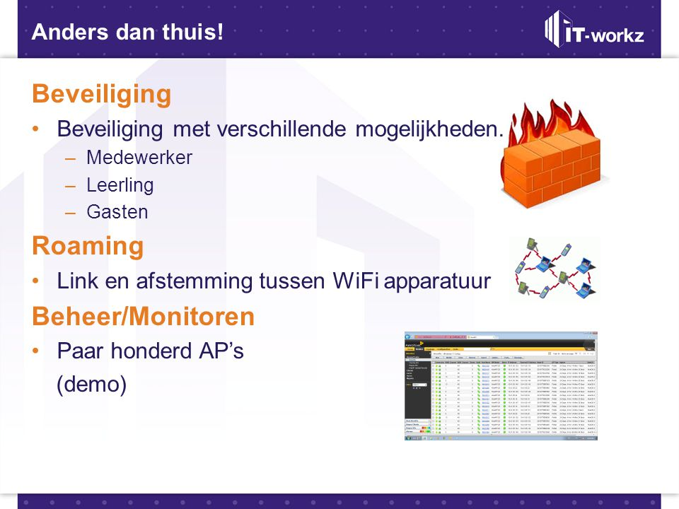 Beveiliging Roaming Beheer/Monitoren Anders dan thuis!