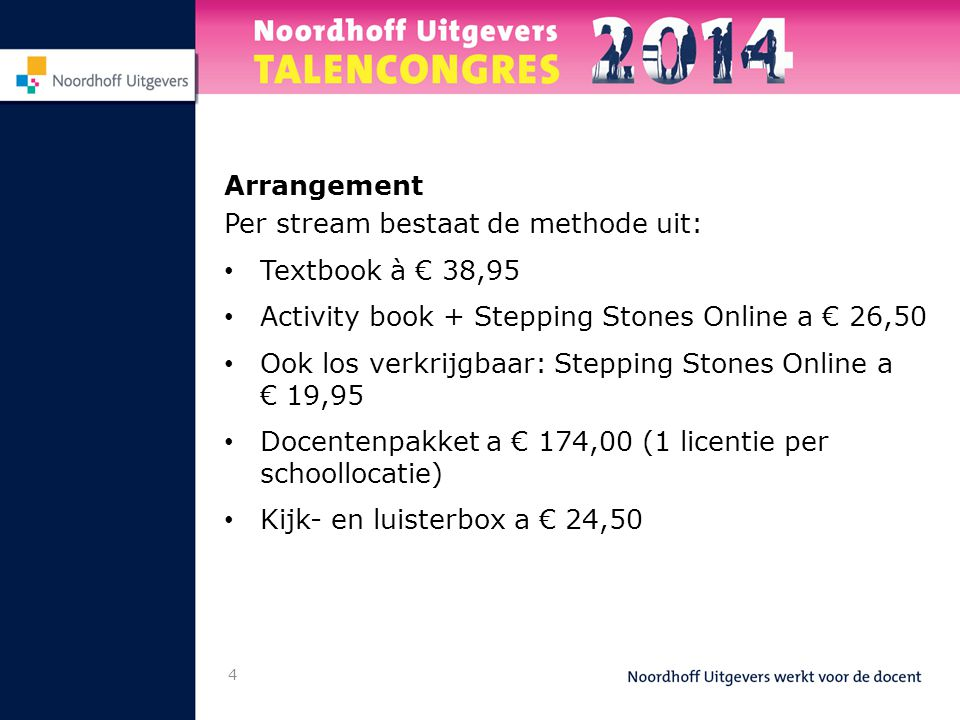 Arrangement Per stream bestaat de methode uit: Textbook à € 38,95. Activity book + Stepping Stones Online a € 26,50.