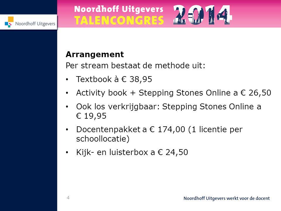 Arrangement Per stream bestaat de methode uit: Textbook à € 38,95. Activity book + Stepping Stones Online a € 26,50.
