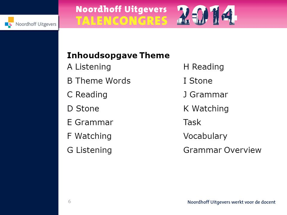 Inhoudsopgave Theme A Listening. B Theme Words. C Reading. D Stone. E Grammar. F Watching. G Listening.