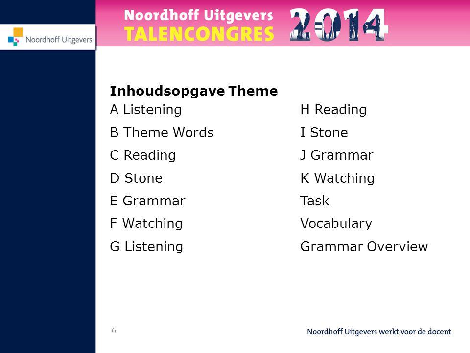 Inhoudsopgave Theme A Listening. B Theme Words. C Reading. D Stone. E Grammar. F Watching. G Listening.