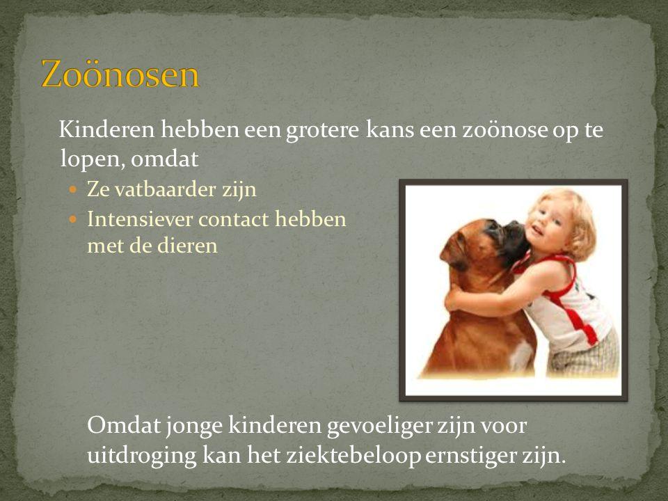 Zoönosen Kinderen hebben een grotere kans een zoönose op te lopen, omdat. Ze vatbaarder zijn. Intensiever contact hebben met de dieren.