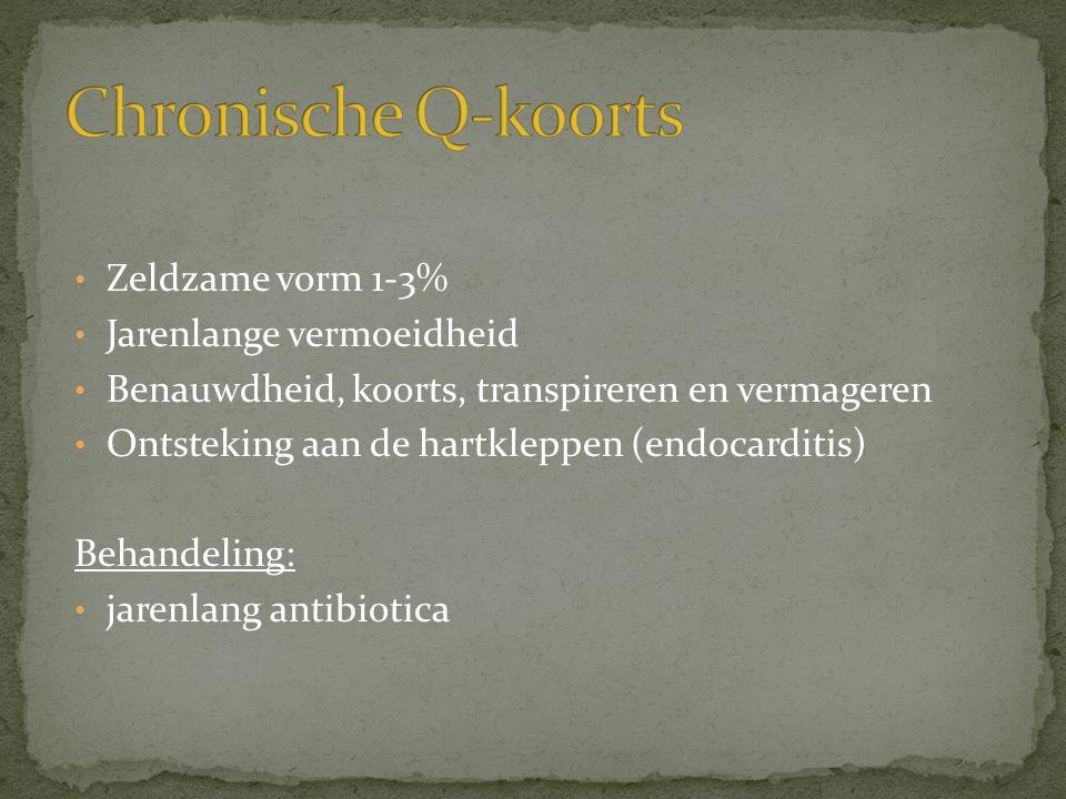 Chronische Q-koorts Zeldzame vorm 1-3% Jarenlange vermoeidheid