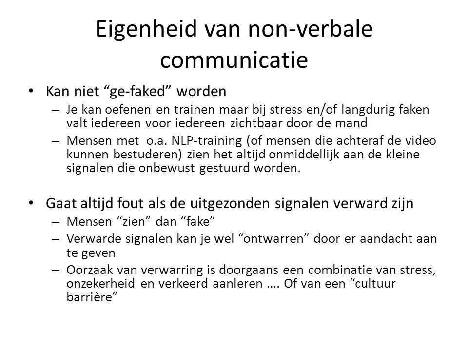 Eigenheid van non-verbale communicatie