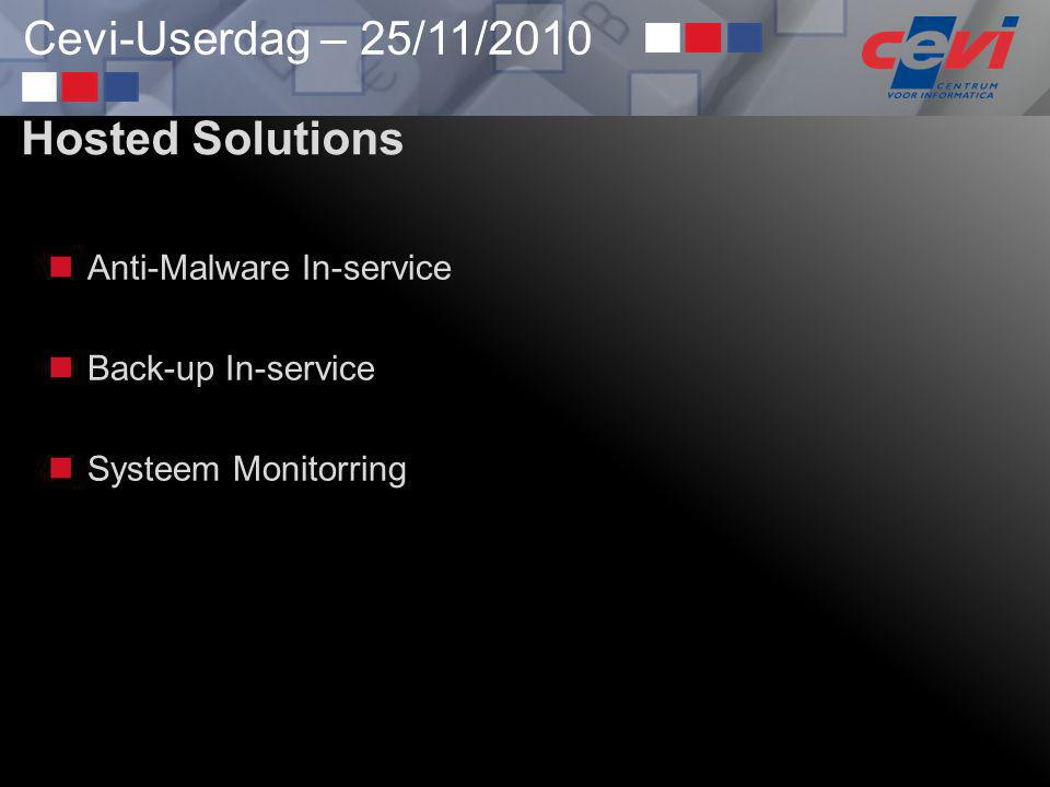 Hosted Solutions Anti-Malware In-service Back-up In-service