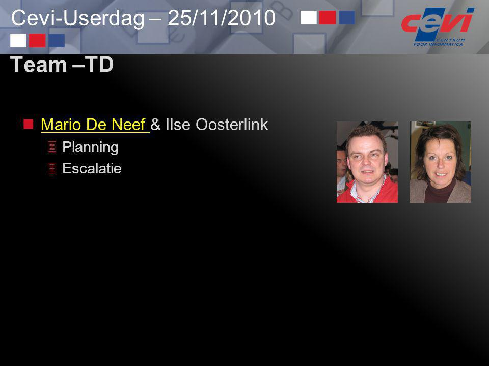 Team –TD Mario De Neef & Ilse Oosterlink Planning Escalatie