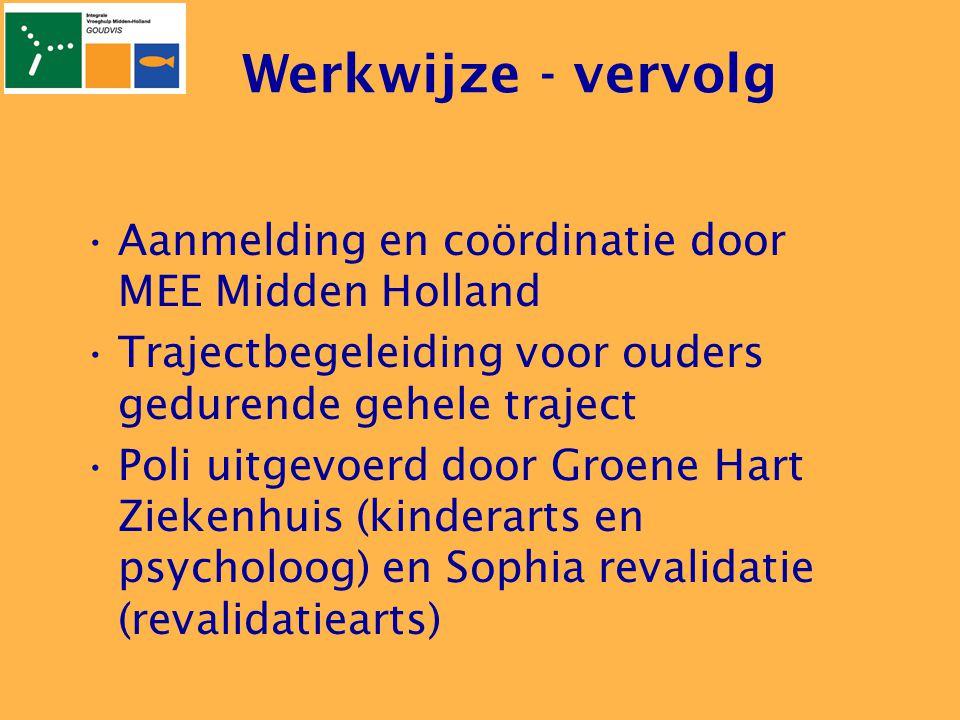 Werkwijze - vervolg Aanmelding en coördinatie door MEE Midden Holland