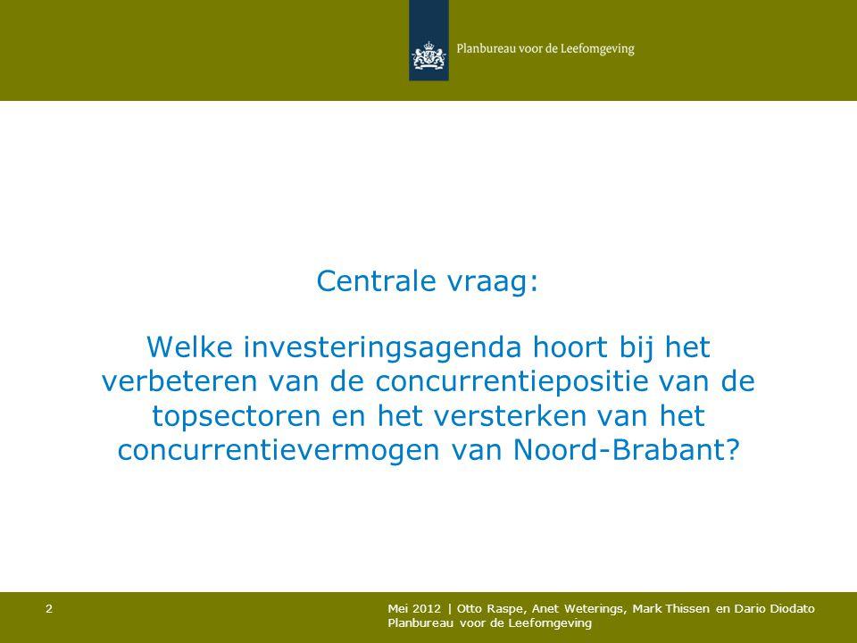 Centrale vraag: Welke investeringsagenda hoort bij het verbeteren van de concurrentiepositie van de topsectoren en het versterken van het concurrentievermogen van Noord-Brabant
