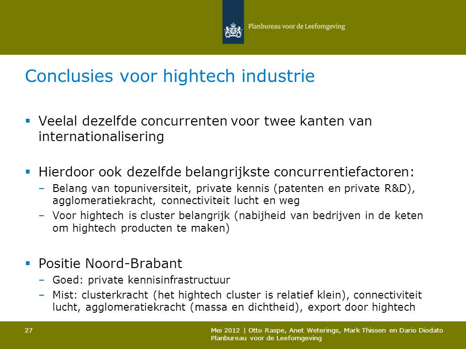 Conclusies voor hightech industrie