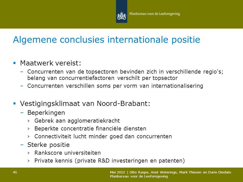 Algemene conclusies internationale positie