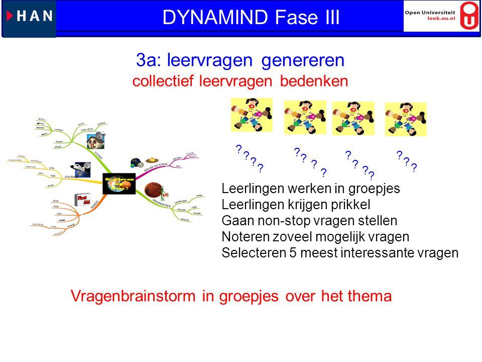 DYNAMIND Fase III 3a: leervragen genereren DYNAMIND: fase 3