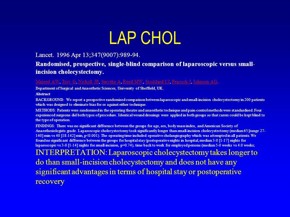 LAP CHOL Lancet. 1996 Apr 13;347(9007):989-94.