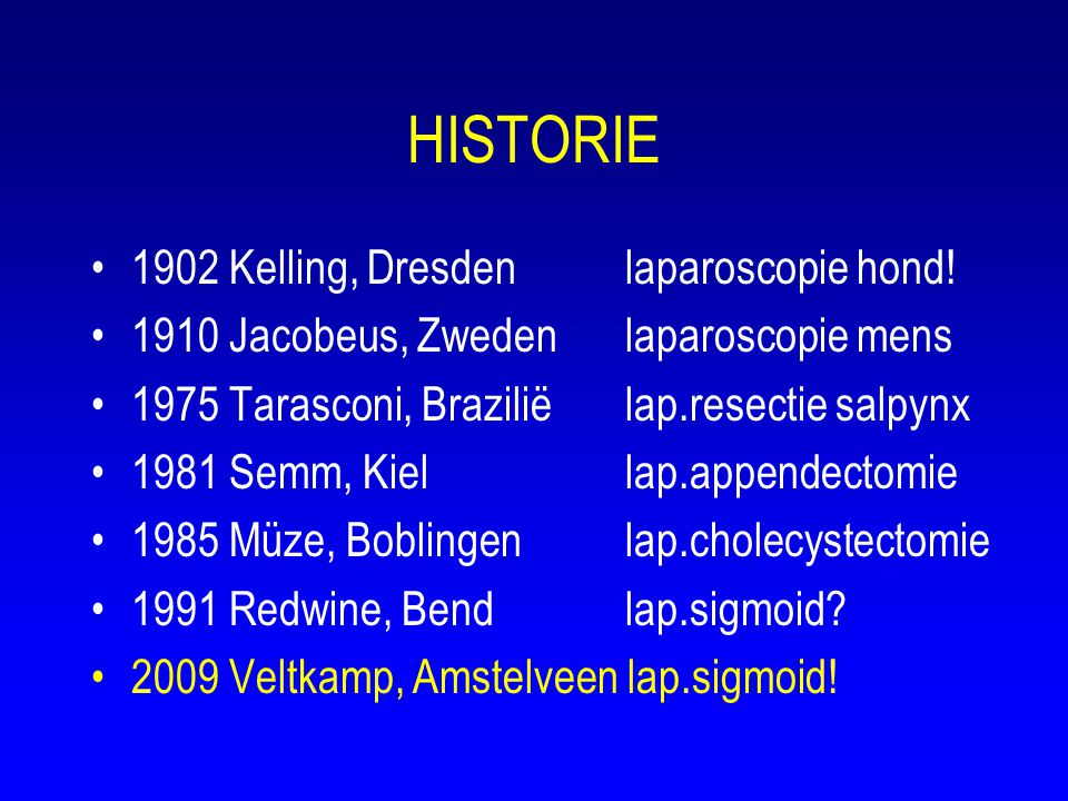 HISTORIE 1902 Kelling, Dresden laparoscopie hond!