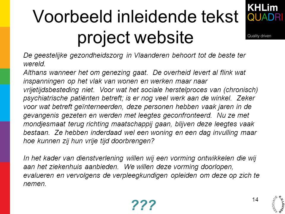 Voorbeeld inleidende tekst project website