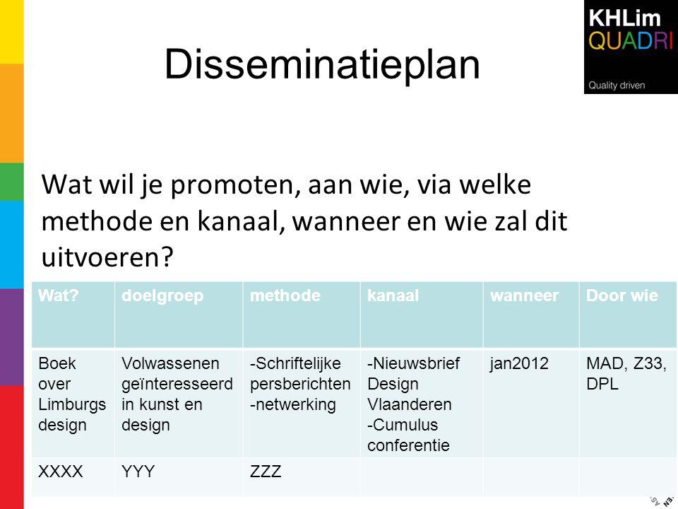 Disseminatieplan Wat wil je promoten, aan wie, via welke methode en kanaal, wanneer en wie zal dit uitvoeren