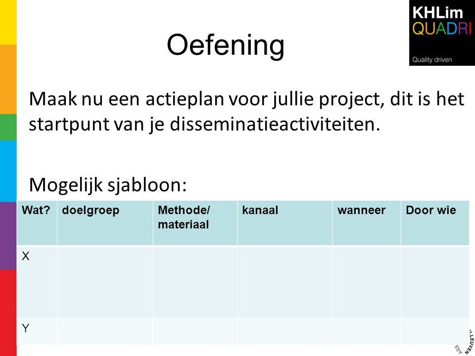 Oefening Maak nu een actieplan voor jullie project, dit is het startpunt van je disseminatieactiviteiten.