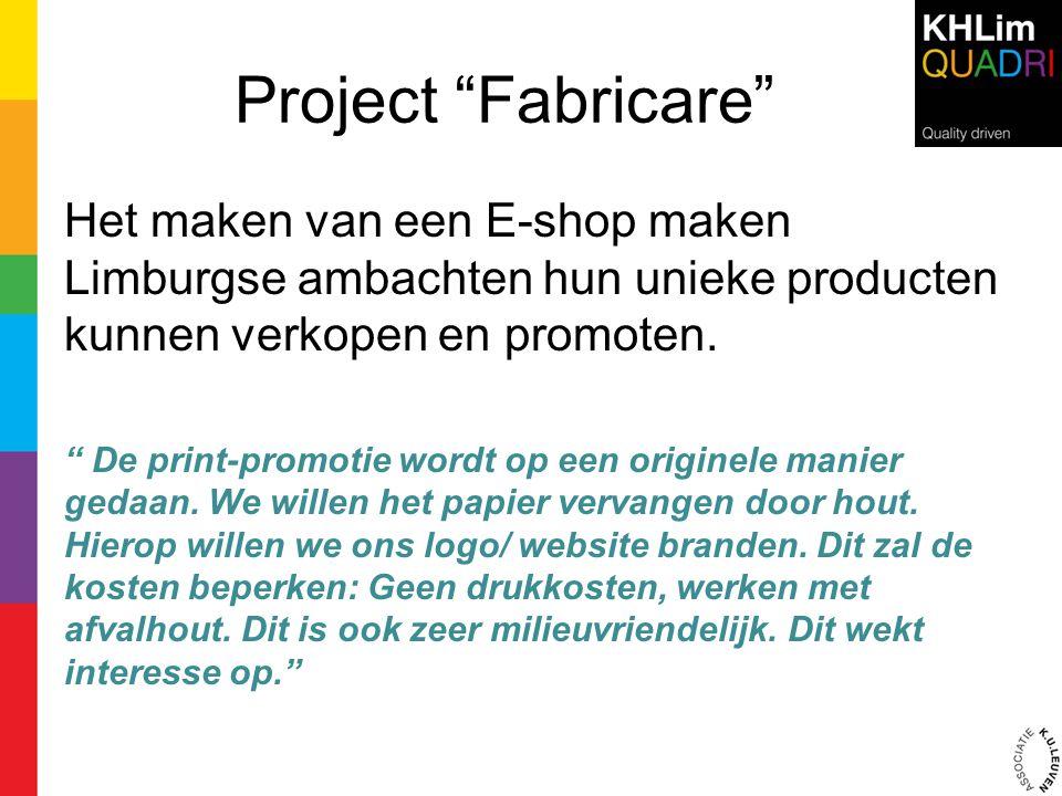 Project Fabricare Het maken van een E-shop maken Limburgse ambachten hun unieke producten kunnen verkopen en promoten.