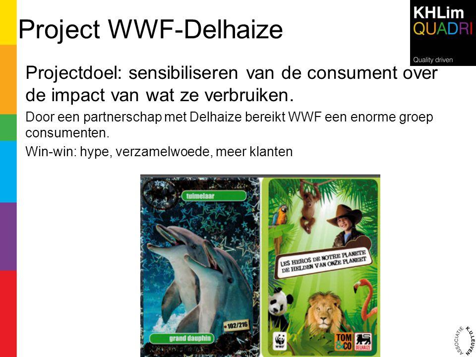Project WWF-Delhaize Projectdoel: sensibiliseren van de consument over de impact van wat ze verbruiken.