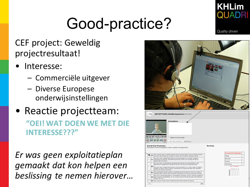 Good-practice Reactie projectteam:
