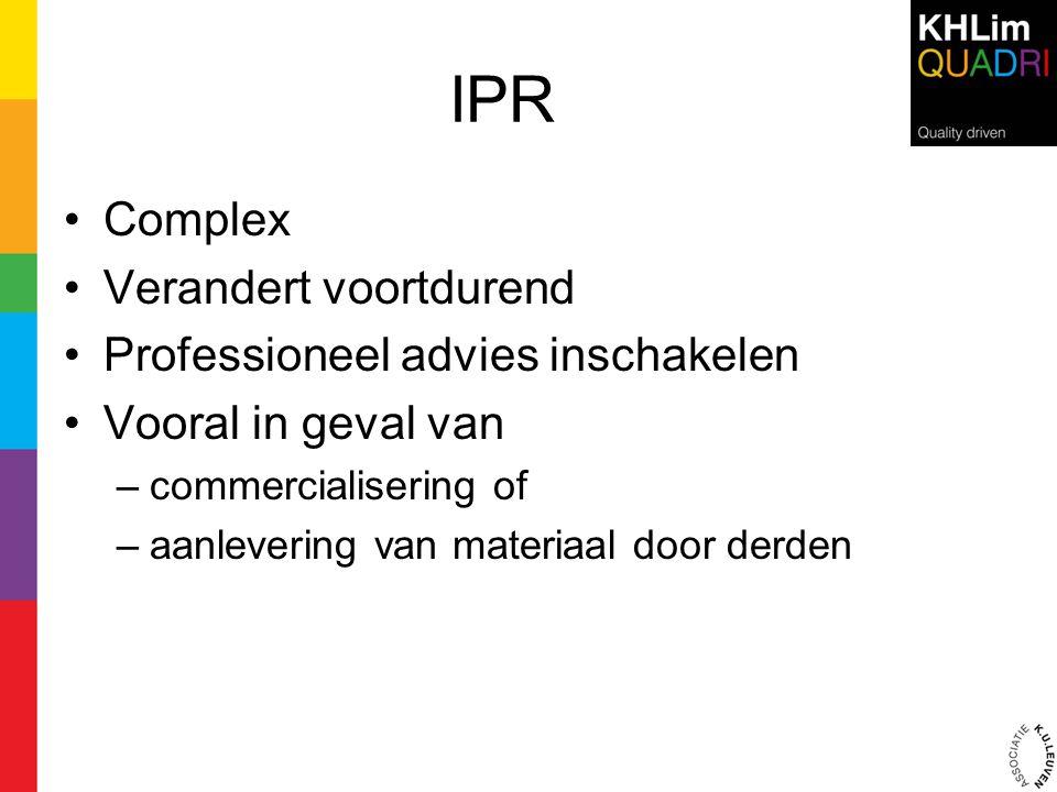 IPR Complex Verandert voortdurend Professioneel advies inschakelen
