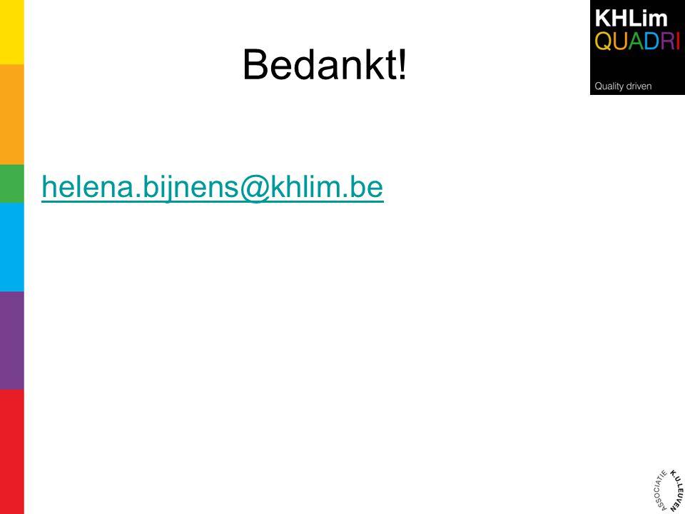 Bedankt! helena.bijnens@khlim.be