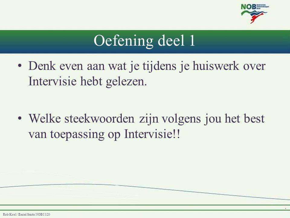 Oefening deel 1 Denk even aan wat je tijdens je huiswerk over Intervisie hebt gelezen.
