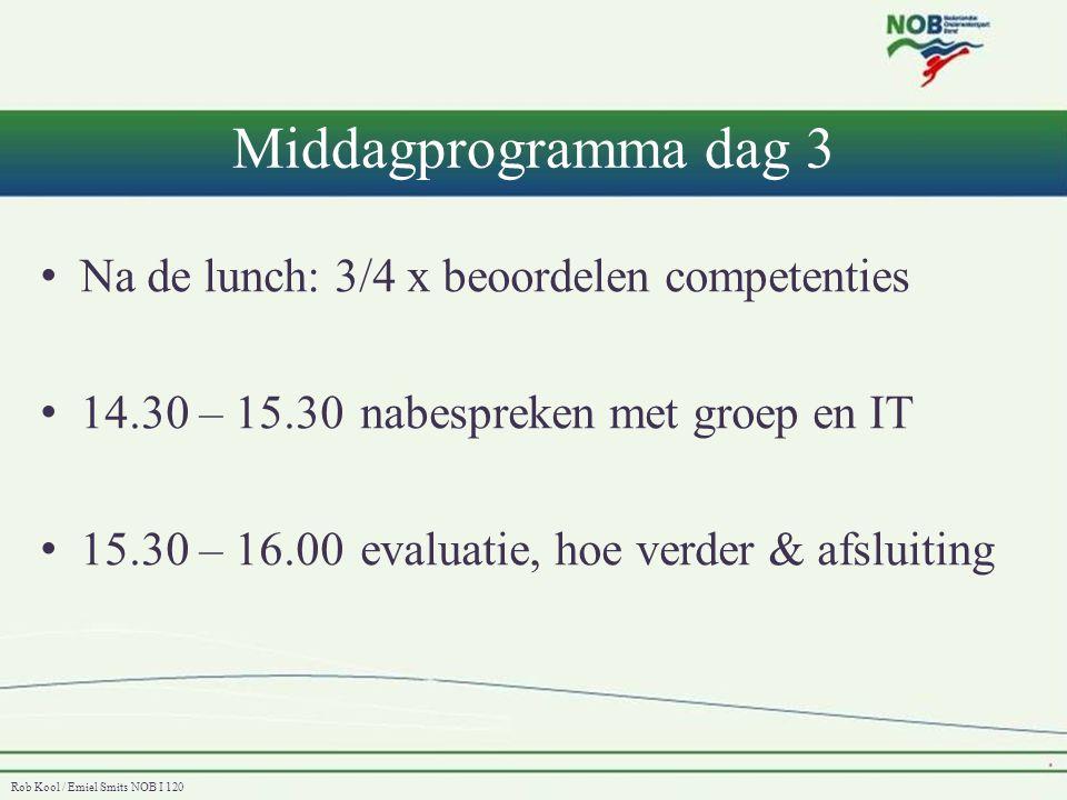 Middagprogramma dag 3 Na de lunch: 3/4 x beoordelen competenties