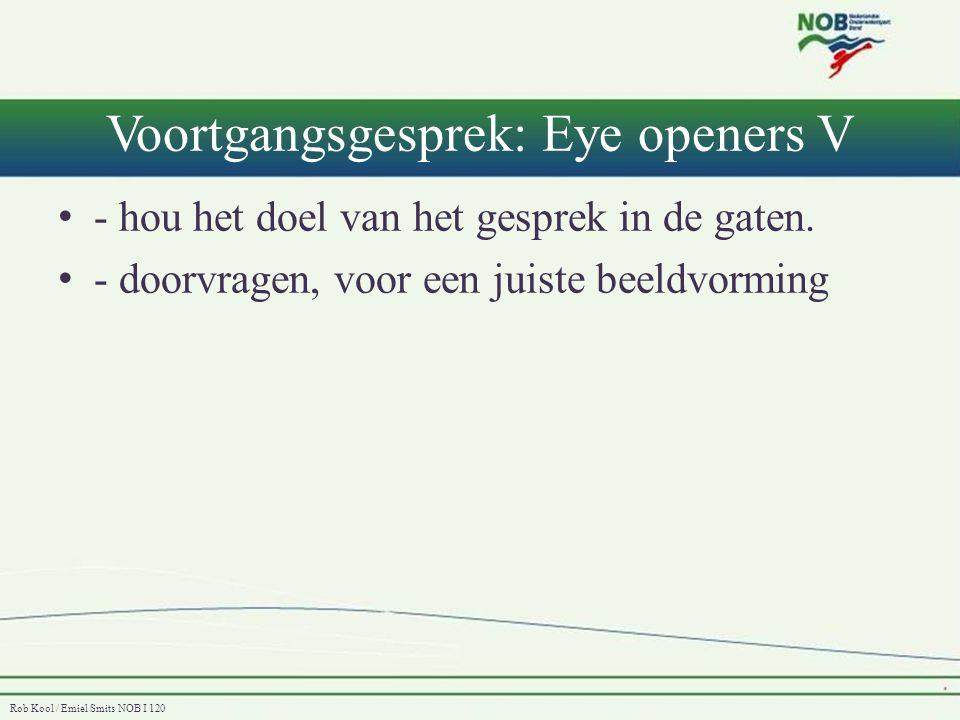 Voortgangsgesprek: Eye openers V