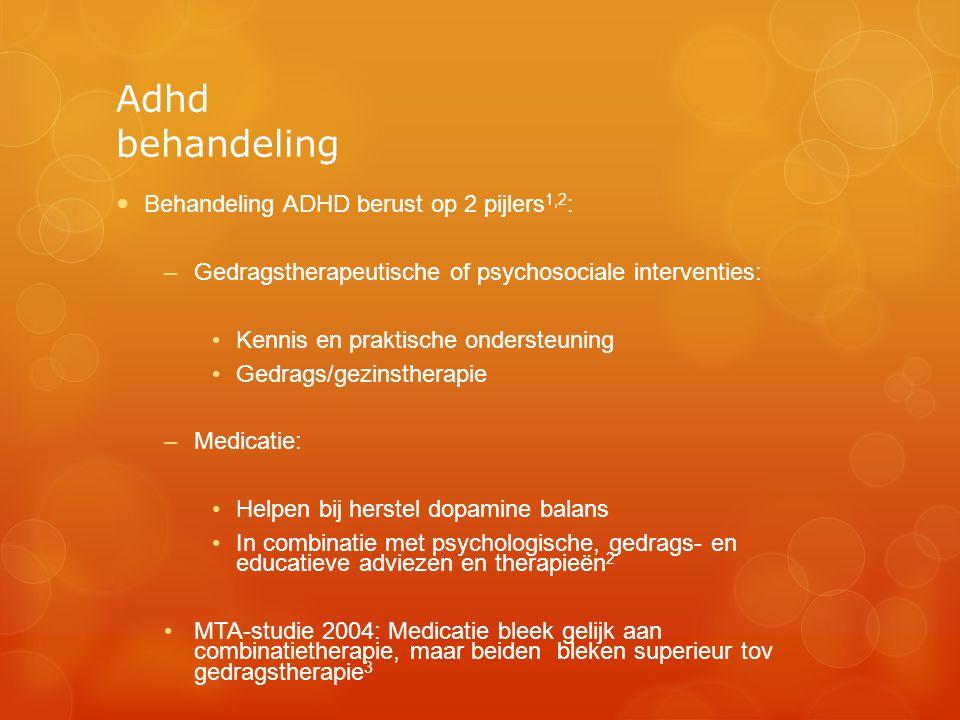 Adhd behandeling Behandeling ADHD berust op 2 pijlers1,2: