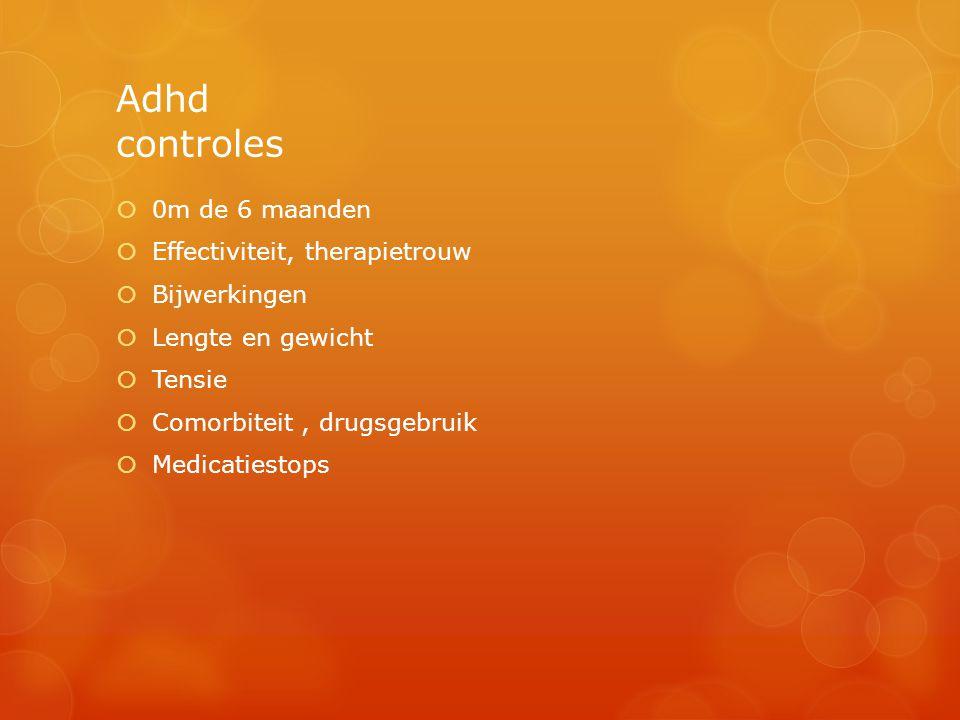 Adhd controles 0m de 6 maanden Effectiviteit, therapietrouw