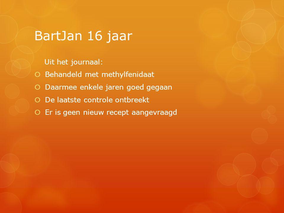BartJan 16 jaar Uit het journaal: Behandeld met methylfenidaat