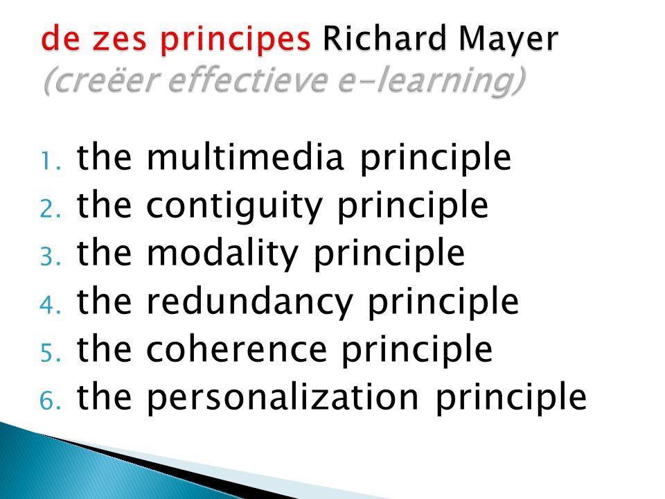 de zes principes Richard Mayer (creëer effectieve e-learning)