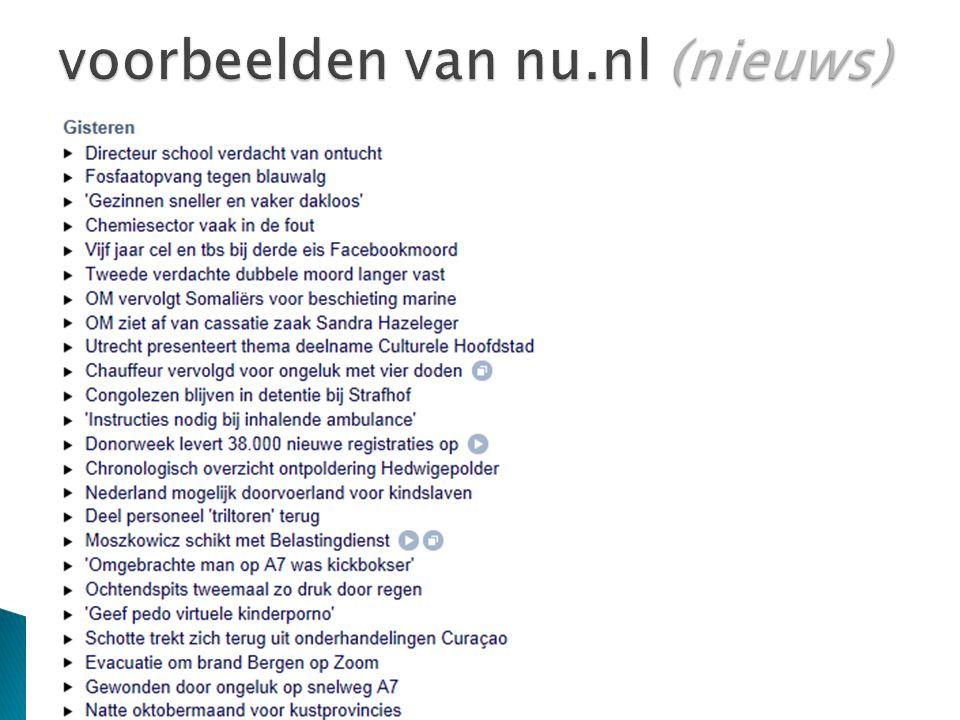 voorbeelden van nu.nl (nieuws)