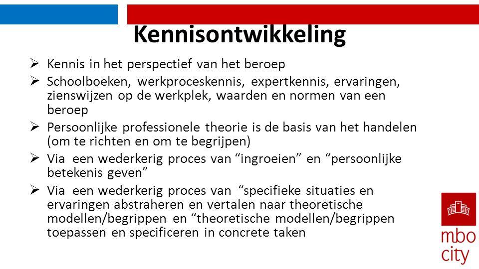 Kennisontwikkeling Kennis in het perspectief van het beroep
