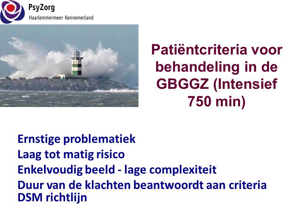 Patiëntcriteria voor behandeling in de GBGGZ (Intensief 750 min)