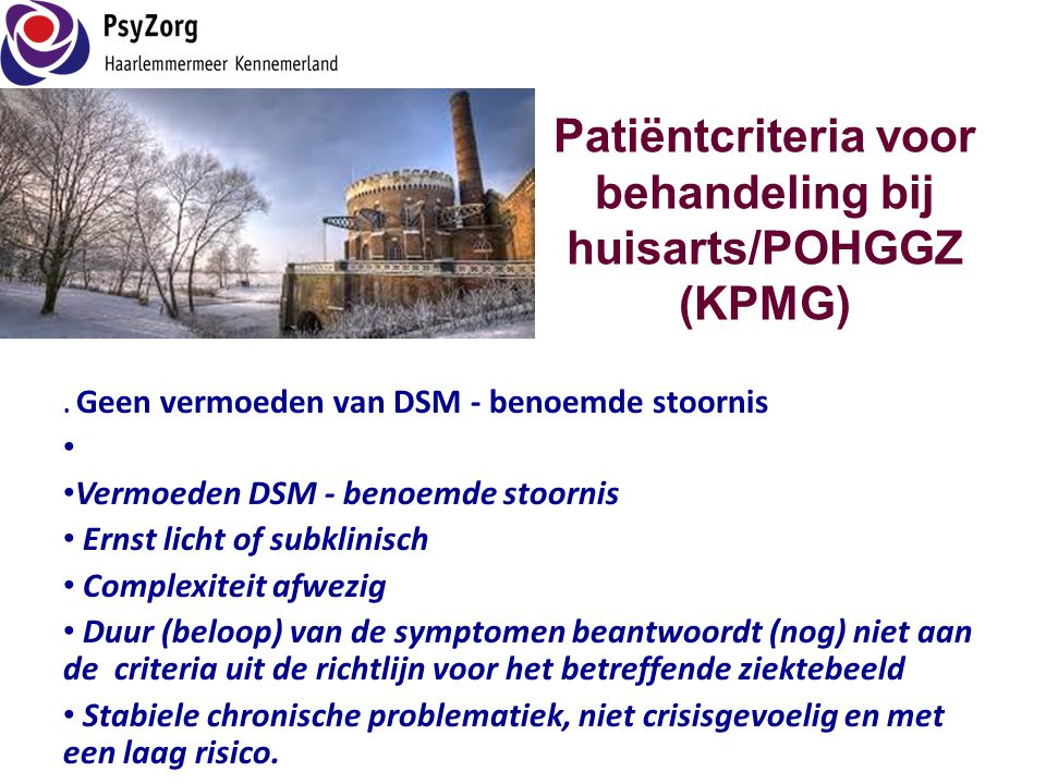 Patiëntcriteria voor behandeling bij huisarts/POHGGZ (KPMG)