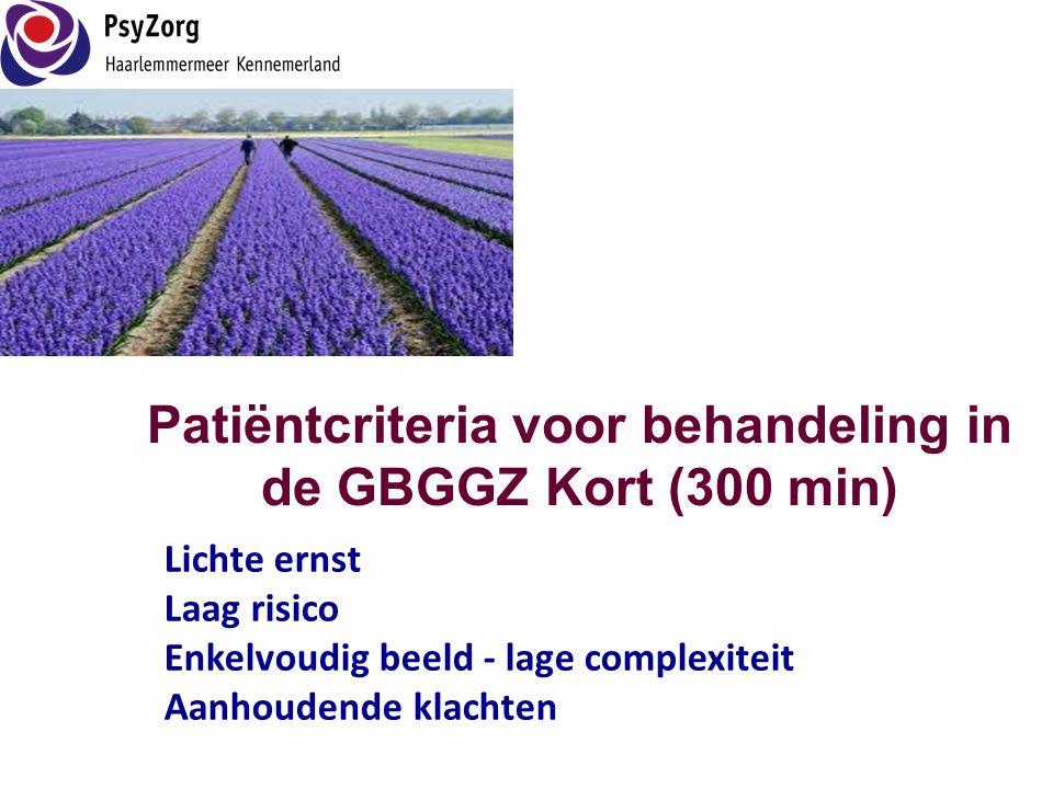 Patiëntcriteria voor behandeling in de GBGGZ Kort (300 min)