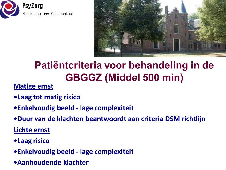 Patiëntcriteria voor behandeling in de GBGGZ (Middel 500 min)
