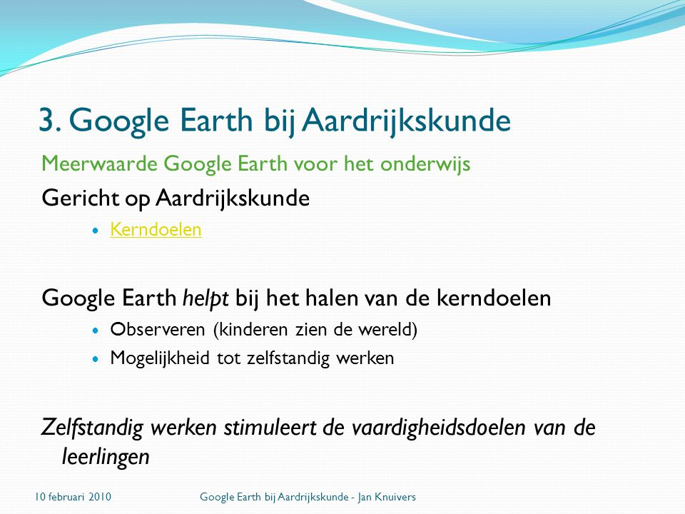 3. Google Earth bij Aardrijkskunde
