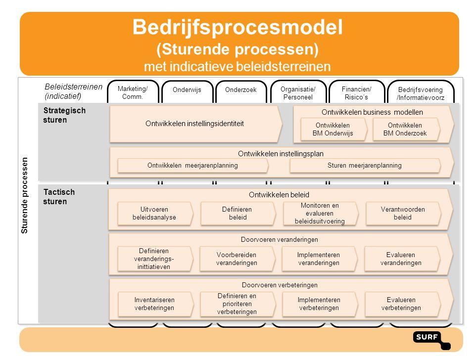 Bedrijfsprocesmodel (Sturende processen) met indicatieve beleidsterreinen
