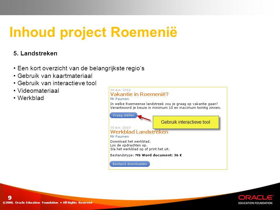 Inhoud project Roemenië