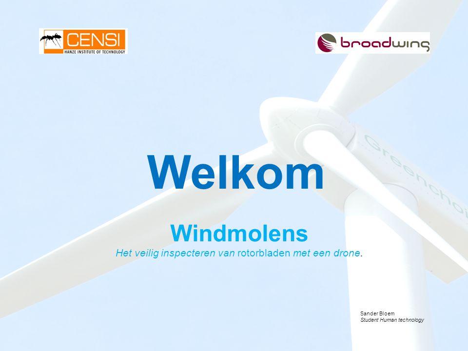 Windmolens Het veilig inspecteren van rotorbladen met een drone.