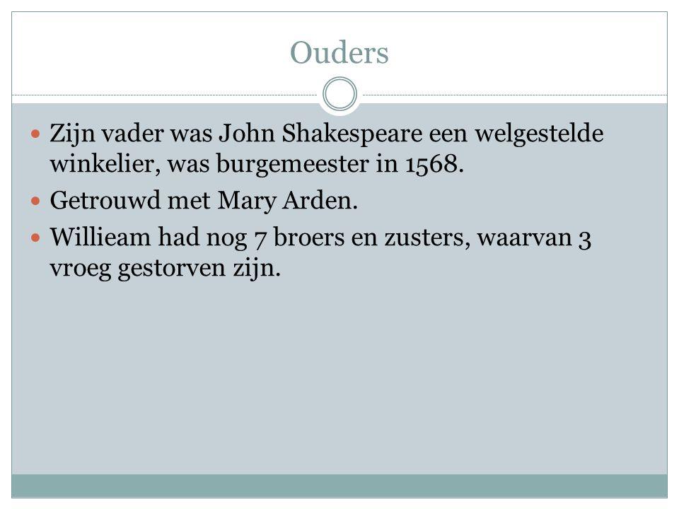 Ouders Zijn vader was John Shakespeare een welgestelde winkelier, was burgemeester in 1568. Getrouwd met Mary Arden.