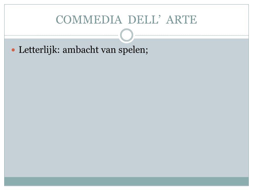 COMMEDIA DELL' ARTE Letterlijk: ambacht van spelen;