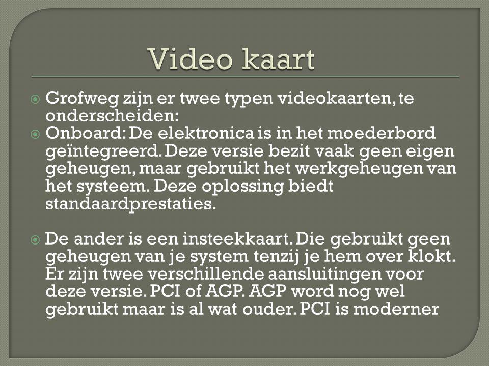 Video kaart Grofweg zijn er twee typen videokaarten, te onderscheiden: