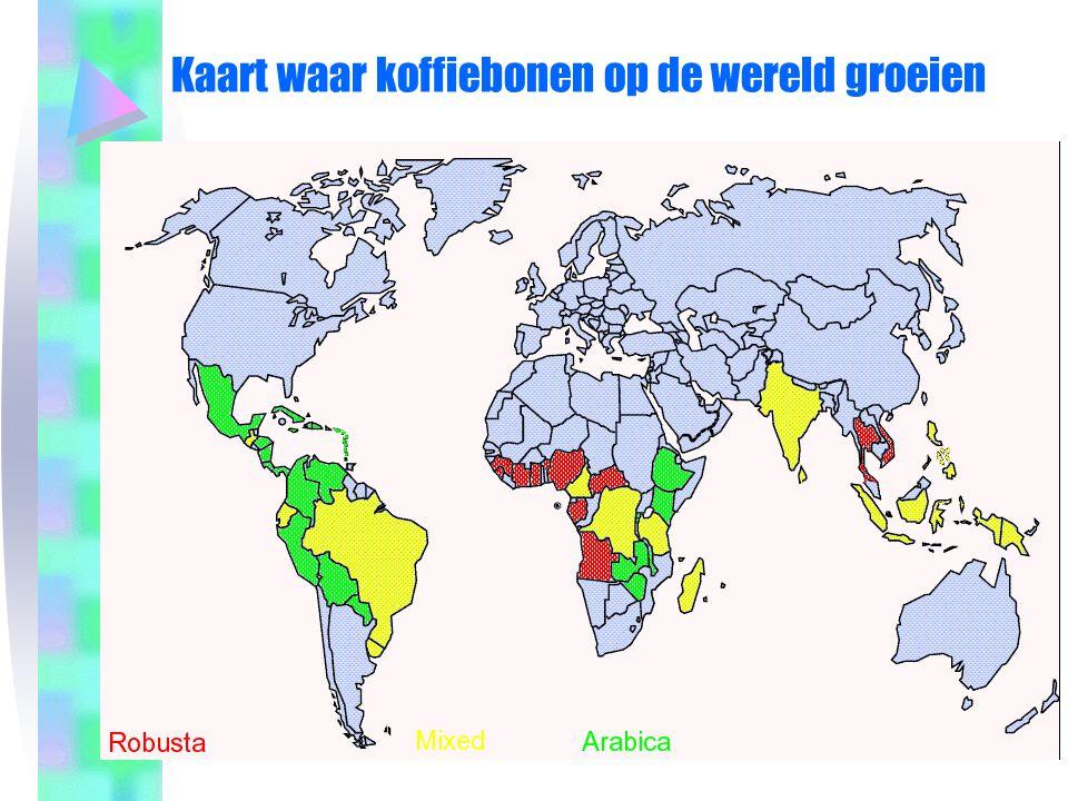 Kaart waar koffiebonen op de wereld groeien