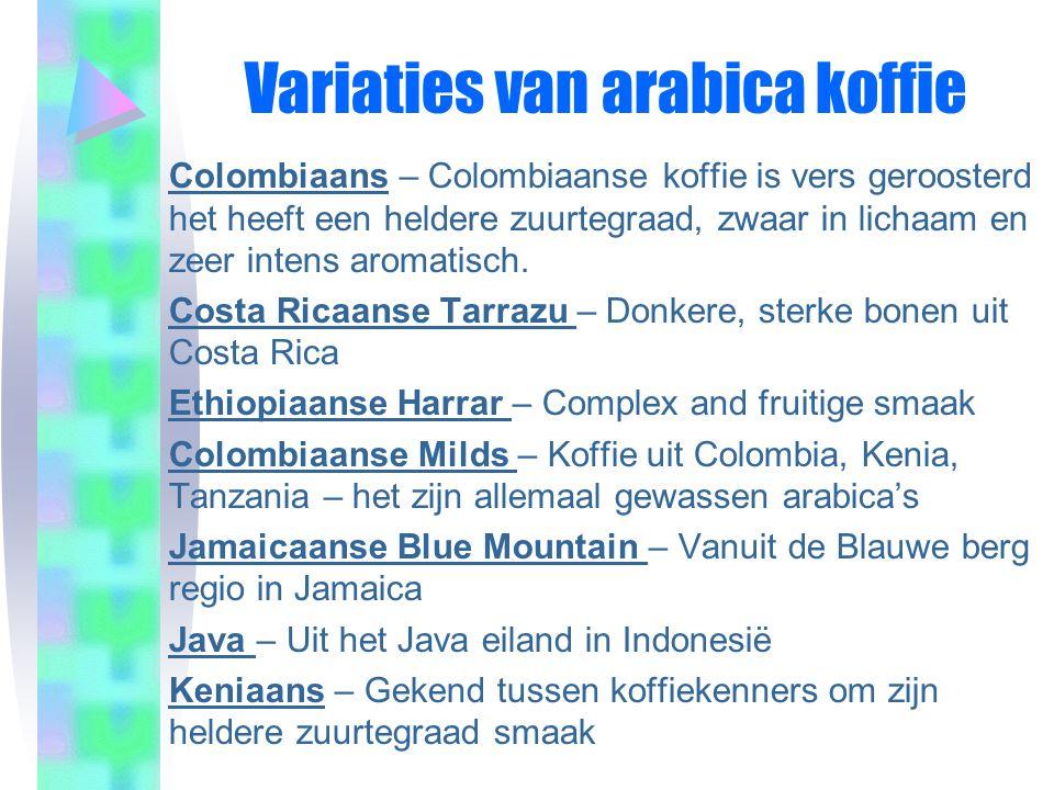 Variaties van arabica koffie
